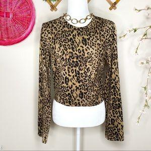 Zara cheetah crop sweater
